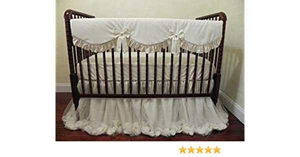 Teething Guard Crib Rail Cover Ivory Baby Bedding Ivory Nursery Bedding Baby Girl Crib Bedding Set Bumperless Crib Bedding Choose Your Pieces