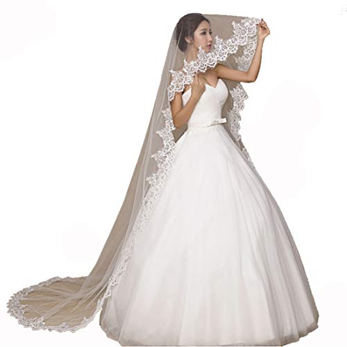 Campsis Women's Handmade Lace Bride Wedding Minimalism Veil bridal Veil White Waist Bridal Hair Accessories Tulle Veil