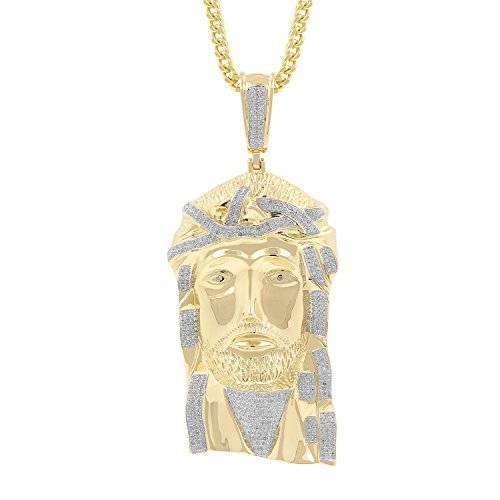 2.03ct Diamond Jesus Face Religious Mens Hip Hop Pendant in Yellow Gold Over 925 Silver (I-J, I1-I2) by Isha Luxe-Hip Hop Bling