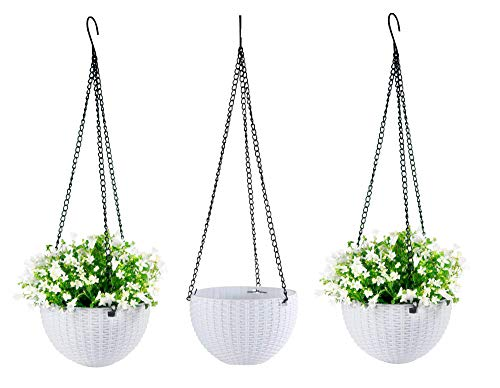 hortiHaven Hanging Planter Baskets with Water Spray Bottle (3 Pc. Set) Cute Plant & Flower Pot   Indoor or Outdoor, Removable Drain Plug   Home, Patio, Kitchen Decor (White) ()