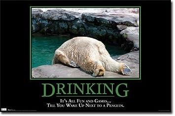 amazon com drunk polar bear motivational humour poster funny jokes