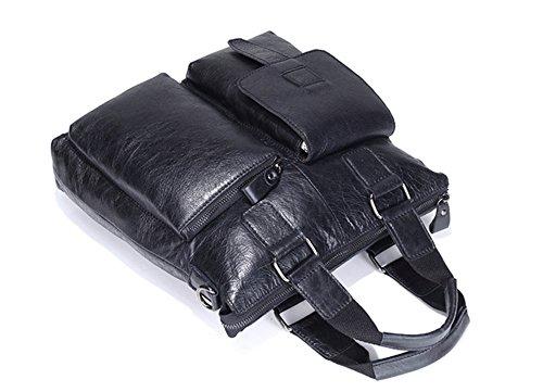 Los hombres Xinmaoyuan Bolsos Bolso Retro sección Vertical Cuero Hombre de negocios,Bolso maletín marrón Negro