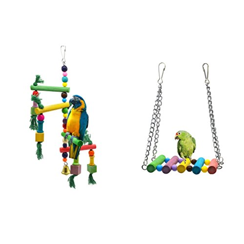 ZUINIUBI Bird Toys,Swing and Chew Toy Set with Bells Parrot/Love Birds/Conures/Finches Wood Colorful Knots Block