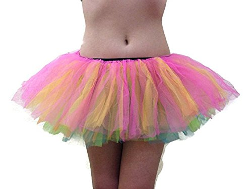 [Women's Organza Sexy Rave Costume Tutu By Mystiqueshapes (Adult, Rainbow)] (Rainbow Fairy Rave Dress)