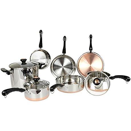 Revere 10 Piece Copper Bottom Cookware Set