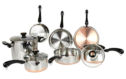 Revere 10 Piece Copper Bottom Cookware Set by Revere