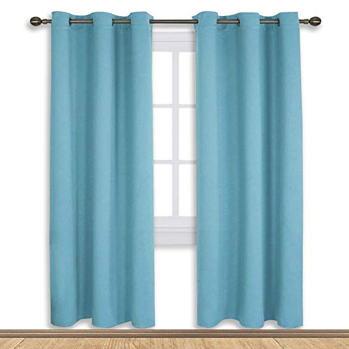 NICETOWN Window Treatment Blackout Curtain Panels, Home Décor Thermal Insulated Solid Grommet Blackout Draperies/Drapes for Bedroom (Set of 2 Panels,42 by 72 Inch,Turquoise) (Baby Blue Kitchen Curtains)