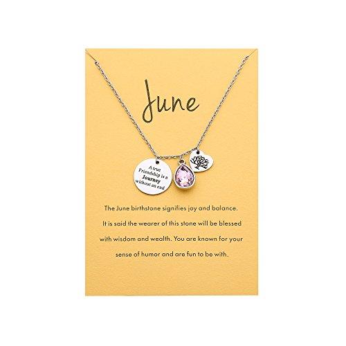 - A True Friendship Stainless Steel Birthstone Necklace Message Card