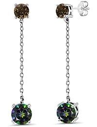 3.52 Ct Round Green Mystic Topaz Brown Smoky Quartz 925 Sterling Silver Long Dangle Earrings