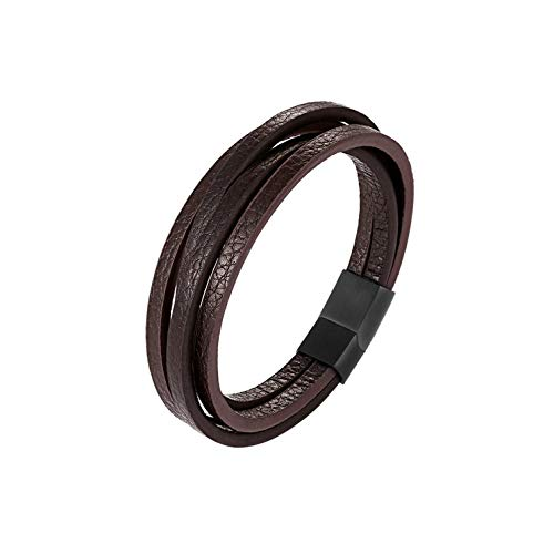 loloday Bracelet Multi-Layers Handmade Braided Genuine Leather&Bangle Stainless Steel Bangles Gifts,See Figure8,20Cm