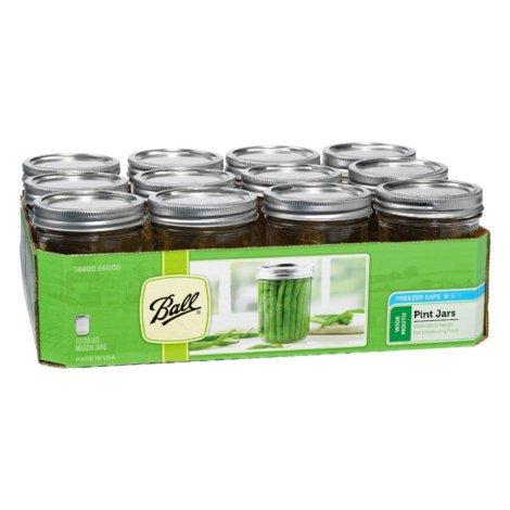 Ball Smooth Sided Wide Mouth Quart Jars 12 Pac | Freezer Safe. (16 OZ)