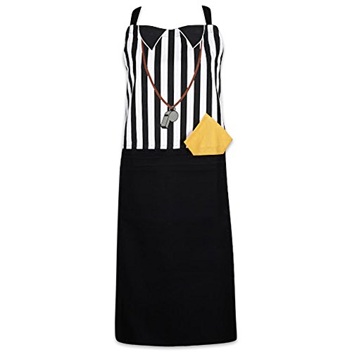 Football Bbq Apron - DII Cotton Adjustable Kitchen Chef Apron with Pocket and Extra Long Ties, 35 x 28, Men and Women Apron for Cooking, Baking, Crafting, Gardening, BBQ-Referee