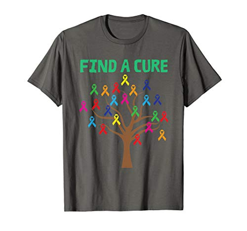 Find A Cure Shirt | Cute Rainbow Ribbons For Cancer Tee Gift