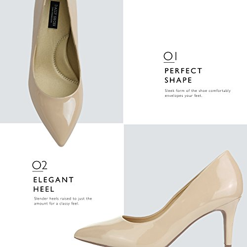 Cushioned Low Pointy Leather High Toe Comfortable Elegant Office Stiletto Dailyshoes Beige Patent Women's Pumps Close Heels Shoes wHCq4nYA