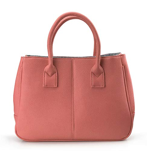 - Hoxis Classical Office Lady Minimalist Pebbled Faux Leather Handbag Tote/Magnetic Snap Purse(Coral)