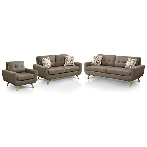 HOMES: Inside + Out IDF-6800-3PC Erin Midcentury Living Room Sofa Set, Mocha