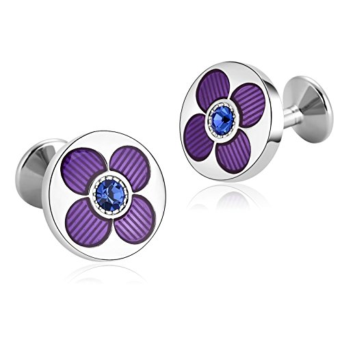 KnSam Stainless Steel Purple Blue Classic Button Flower Round Cufflinks for Mens (Bulldogs Tech Watch Sport Steel)