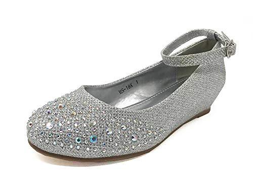 TOP Girl's Glitter Rhinestone Ankle Strap Wedge - Dressy, Wedding, Holiday (2 - Big Kid, Silver) by TOP