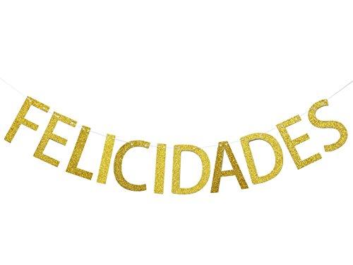Congratulations Graduate Photo Banner - Felicidades Gold Glitter Banner, Congratulations Banner, Marriage, Wedding,Graduation Sign Photo Props Graduate Party Decorations (Gold)