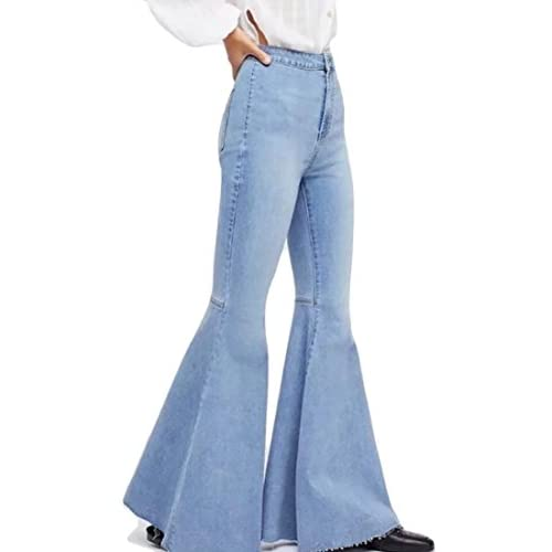 Cheap GAGA Women's Vintage Retro High Waist Palazzo Bell Jeans Denim Pants