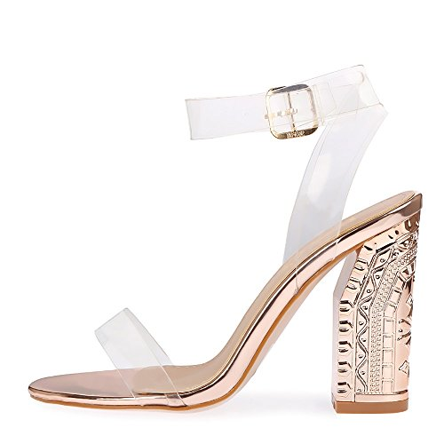 Ladies Womens Girls Perspex High Heels Clear Strap Long Lace Up Party Shoe Size Rose Gold NF289