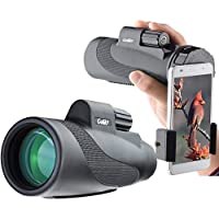Gosky Titan 12X50 High Power Prism Monocular and Quick Smartphone Adapter - Waterproof Fog-Proof Shockproof Scope -BAK4 Prism FMC for Bird Watching Hunting Camping Travelling Wildlife Secenery