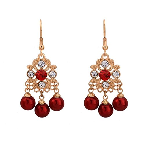 LeNG Earrings For Women NEW Classical Ear Stud With Red Pearl Round Shape Earrings Fine Jewelry EH007,Aspicture by LeNG Earrings (Image #1)