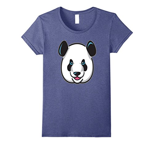 Womens Adorable Panda Face Costume Shirt For Animal Theme Parties Small Heather (Female Jungle Themed Costume)