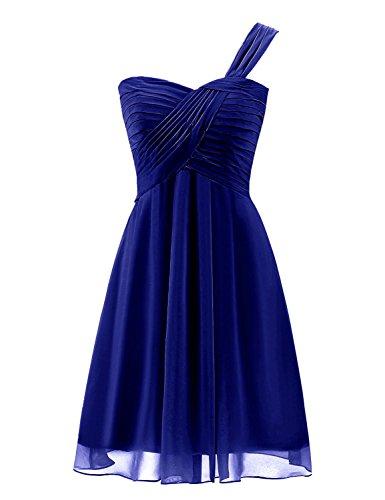Sarahbridal Juniors Short Chiffon One Shoulder Bridesmaid Dresses Prom Gowns Pleats Royal Blue US14