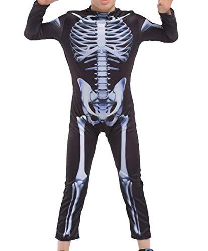 LIUHUAF Kids' Halloween Suit Boys Onesies Skull Trooper Costume (Black, -