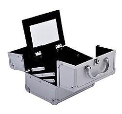 Makeup Train Case Jewelry Box Pro. Cosmetic Organizer Lockable Travel 7 SILVER