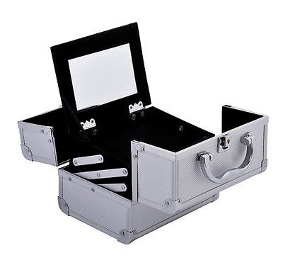 Makeup Train Case Jewelry Box Pro. Cosmetic Organizer Lockab