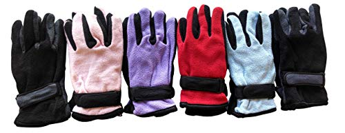 Yacht & Smith Value Pack of Unisex Warm Winter Fleece Gloves, Many Colors, Mens Womens, One Size (6 Pairs Assorted Bright)