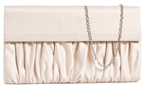 La Regale Ruched Satin Clutch, Champagne La Regale Satin Flap Clutch