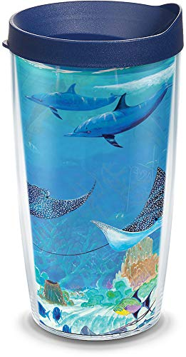 Tervis 1315947 Guy Harvey - Ocean Scene Insulated Tumbler with Wrap & Lid, 16oz - Tritan, Clear