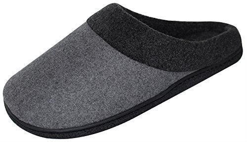 HomeTop Men's Woolen Fabric Memory Foam Anti-Slip House Slippers, Triple...