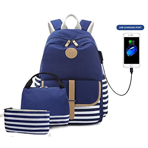 Goodking Canvas Backpack Cute School Backpack Lightweight