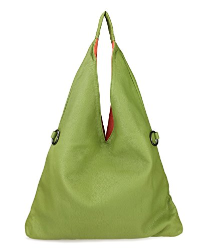 Hoxis 2 in 1 Color Block Washed Soft Leather Hobo Shoulder Handbag Women Tote (Grass Green)