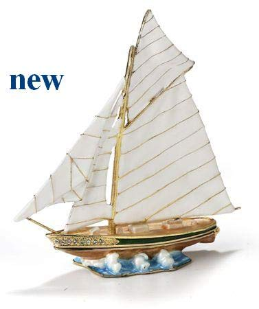 Enameled Sail Boat Trinket Box Accented with Austrian Crystals ()