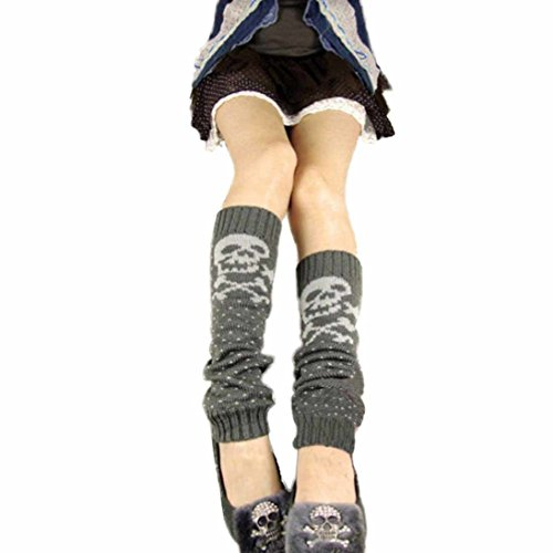 HP95(TM)Women's Skull Knit Wool Boots Over Knee High Snow Fashion Leg Warmer (Skull Leg Warmers)
