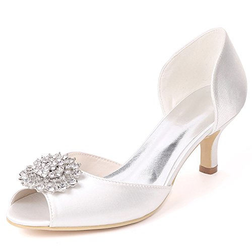Raso L Da yc White Col Alto Sposa Con Tacco Donna Punta A avorio Scarpe In qr481
