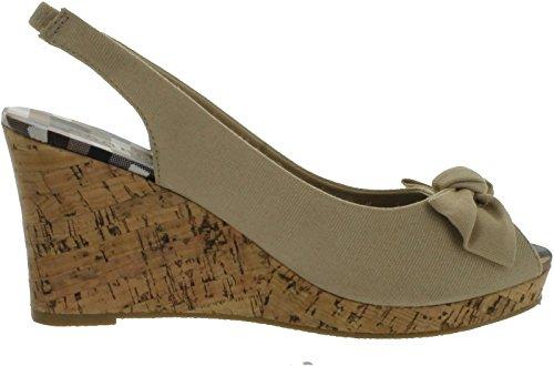 Wig-sandalen Van Bamboe-dames Met Faux-kurkzool En Strikontwerp Natuurlijk