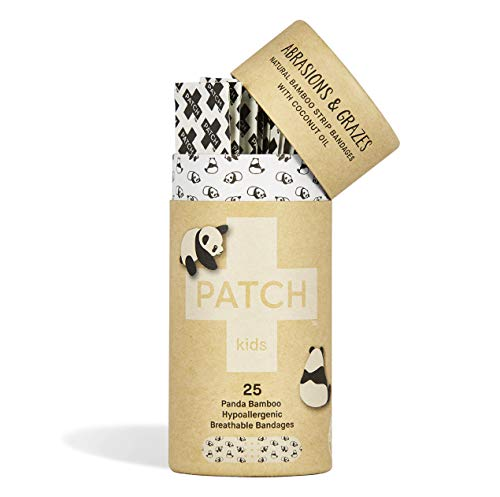 PATCH Kids Coconut Oil Natural Organic Bamboo Panda Print Adhesive Strip Bandages, Tube of 25 Strips (Single), Hypoallergenic & Breathable, 100% Compostable ()