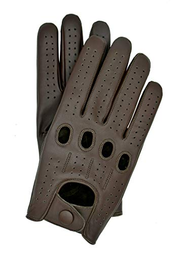 Riparo Genuine Leather Full-finger Driving Gloves (Medium, Dark Brown)