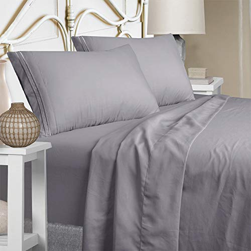 Queen Size Sheet Set - Extra Soft Luxury Brushed Microfiber 1800 Thread Count Percale Egyptian Sheets with 15-inch Deep Pocket - Wrinkle Fade and Hypoallergenic - 4 Piece (Queen, Grey)
