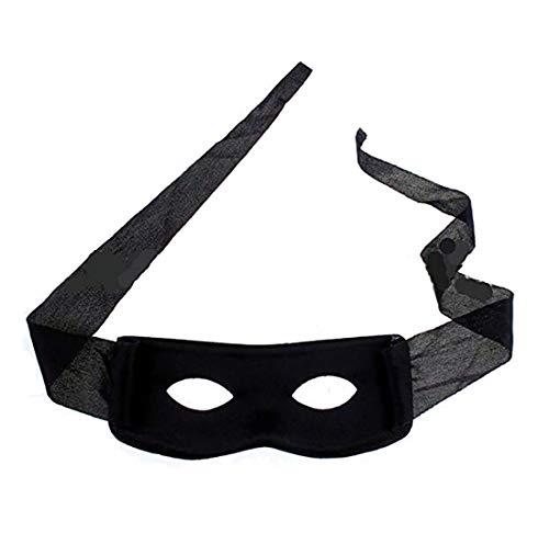 IDOXE Eye Mask Highwayman Robber Fancy Dress Black Bandit Thief Costume Mask