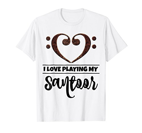 Double Bass Clef Heart I Love Playing My Santoor T-Shirt
