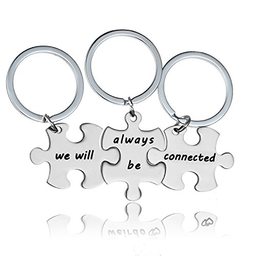 YeeQin 3PCS We Will Always Be Connected Keychain Set, Necklace Set, Best Friends Jewelry, Friendship Gift for Sisters Friends (Keychains Set)