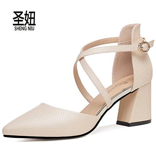 KPHY Primavera Y El Verano Zapatos Tacones Gruesos Zapatos De Mujer Zapatos De Tacones Altos Huecas Cruz Vinculante Solo Zapatos Shallow Boca Puntiaguda. Golden