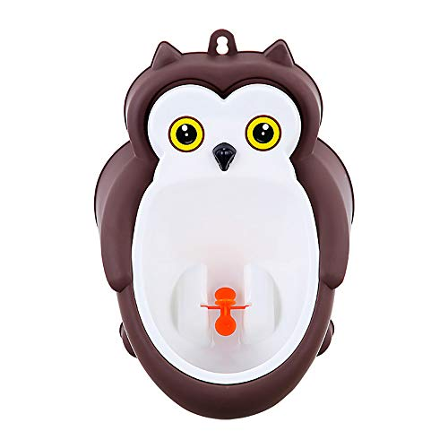 Standing Child Urinal,Owl Boy Standing Urinal, Wall-Mounted Boy Potty with Funny Rotating Windmill,Free Water Pipe, Water Plug, Suction Cup Hook,Brown